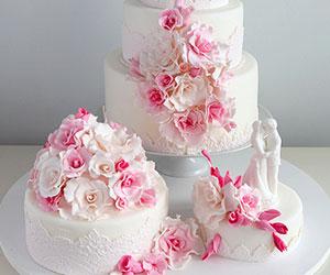Tort De Nuntă In Nunțe De Roz Mov și Alb Cu Panglică